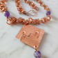 COPPER AND AMETHYST NECKLACE - HAMMERED - FREE SHIPPING WORLDWIDE