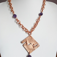 COPPER AND AMETHYST NECKLACE  - CHRISTMAS - GIFT-  FREE SHIPPING