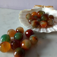 AGATE FACETED GEMSTONES - 16MM