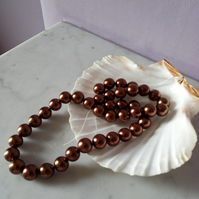 AUNTIQUE BRONZE SHELL PEARL ROUNDS -10MM