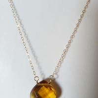 BRANDY TEARDROP NECKLACE WITH 14K GOLD FILLED CHAIN - FREE POSTAGE