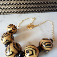 GOLD AND BLACK POLYMER CLAY NECKLACE - CHRISTMAS GIFT - FREE SHIPPING