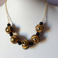GOLD AND BLACK POLYMER CLAY NECKLACE  - FREE UK SHIPPING
