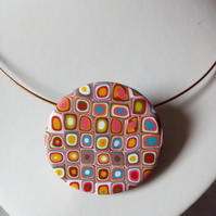 RETRO NECKLACE - POLYMER CLAY - FREE SHIPPING