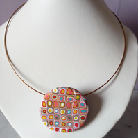 RETRO NECKLACE - POLYMER CLAY - FREE UK SHIPPING