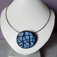 MODERN ART DESIGN NECKLACE - POLYMER CLAY - FREE SHIPPING