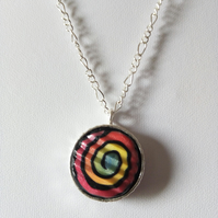 RAINBOW POLYMER CLAY NECKLACE -PENDANT - FREE UK POSTAGE