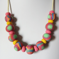 POLYMER CLAY NECKLACE - HOLIDAY NECKLACE - FREE UK SHIPPING
