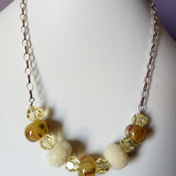 SALE - SUNSHINE SUGAR LAMPWORK NECKLACE - -  - FREE SHIPPING WORLDWIDE