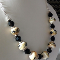 LAMPWORK AND SWAROVSKI NECKLACE   - BLACK AND WHITE NECKLACE - FREE UK POSTAGE