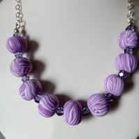 POLYMER CLAY NECKLACE - SWAROVSKI - FREE UK SHIPPING