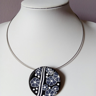 POLYMER CLAY NECKLACE -PENDANT - CHOKER -  FREE UK POSTAGE