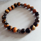 BLACK AND YELLOW FIRE AGATE STRETCHY BRACELET - FREE SHIPPING
