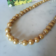 GOLD PEARL  AND CHAMPAGNE NECKLACE - BRIDE - WEDDING - FREE UK POSTAGE