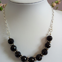 BLACK AGATE AND STERLING  SILVER NECKLACE- BLACK NECKLACE - FREE UK SHIPPING
