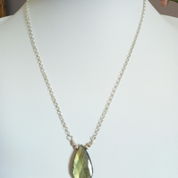 LABRADORITE DROP NECKLACE - -  PEAR NECKLACE - FREE UK POSTAGE