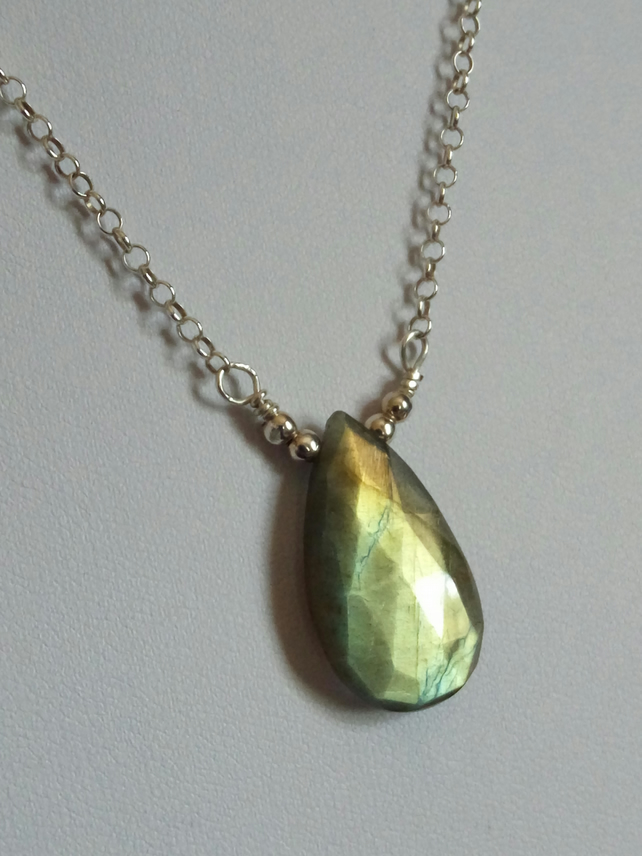 LABRADORITE DROP NECKLACE - -  PEAR NECKLACE - FREE UK SHIPPING