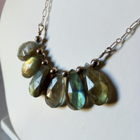 LABRADORITE AND STERLING SILVER NECKLACE - - FREE UK SHIPPING