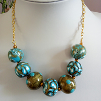 ANTIQUE GOLD AND TURQUOISE NECKLACE - POLYMER CLAY NECKLACE - FREE UK  SHIPPING