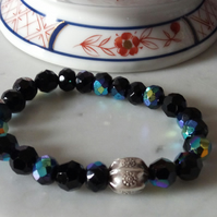 BLACK SWAROVSKI STRETCHY BRACELET - - FREE UK SHIPPING