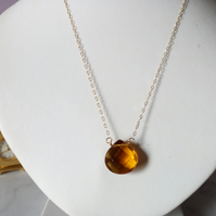 BRANDY TEARDROP NECKLACE WITH 14K GOLD FILLED CHAIN - FREE UK SHIPPING