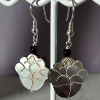 BLACK SHELL EARRINGS - ENGRAVED FLOWER - -  FREE UK SHIPPING