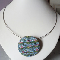 POLYMER CLAY NECKLACE -PENDANT - CHOKER - STAINED GLASS -  FREE UK SHIPPING