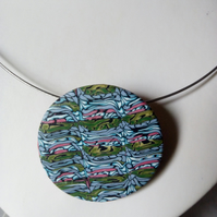 POLYMER CLAY NECKLACE -PENDANT - CHOKER -  FREE UK SHIPPING