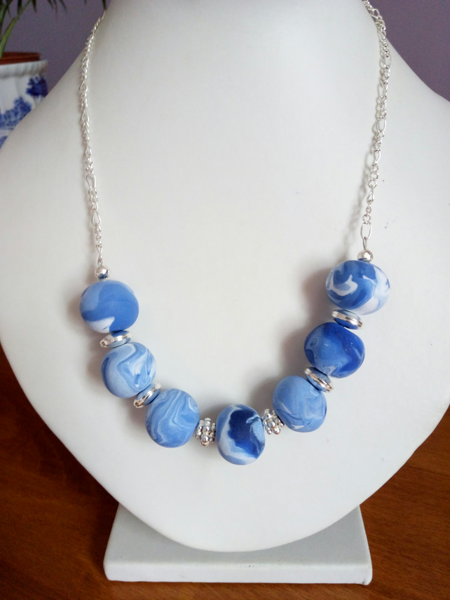 POLYMER CLAY MARBLE NECKLACE WITH FREE EARRINGS - FREE UK SHIPPING