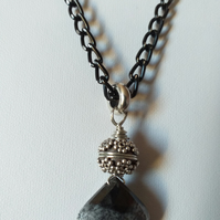 DENDRITE OPAL PENDANT - BLACK NECKLACE  - BLACK CHAIN - FREE UK  POSTAGE