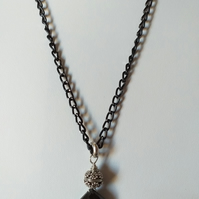 DENDRITE OPAL PENDANT - BLACK NECKLACE  - black chain FREE UK  SHIPPING