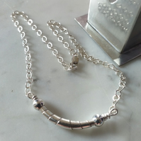 WRAPPED BEAD  SILVER NECKLACE - SILVER NECKLACE- VALENTINE - FREE UK SHIPPING