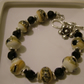 LAMPWORK BRACELET WITH BLACK SWAROVSKI CRYSTALS- - FREE SHIPPING WORLWIDE