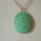 VERDIGRIS PATINA FLORAL BRASS LOCKET - FREE SHIPPING WORLDWIDE