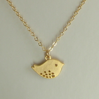 LITTLE GOLD SPARROW  NECKLACE - BIRD NECKLACE  - FREE SHIPPING WORLDWIDE