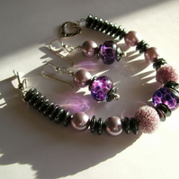 PURPLE SUGAR LAMPWORK BRACELET - PURPLE BRACELET - - FREE UK SHIPPING