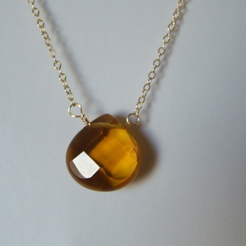 BRANDY TEARDROP NECKLACE WITH 14K GOLD FILLED CHAIN -CHRISTMAS GIFT- FREE POST