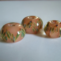 3 PEACH LAMPWORK BEADS - FREE SHIPPING WORLDWIDE