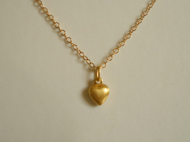 VERMEIL PUFFED HEART NECKLACE - - FREE SHIPPING WORLDWIDE