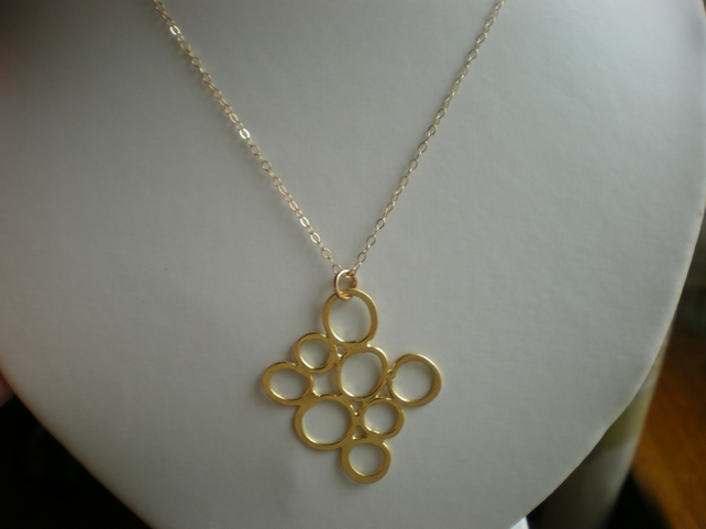 14K MATTE GOLD FROSTED BUBBLE NECKLACE - - FREE SHIPPING WORLDWIDE