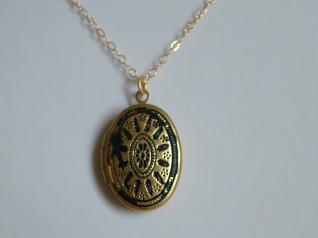 EBONY BLACK PATINA BRASS LOCKET - - FREE SHIPPING WORLDWIDE