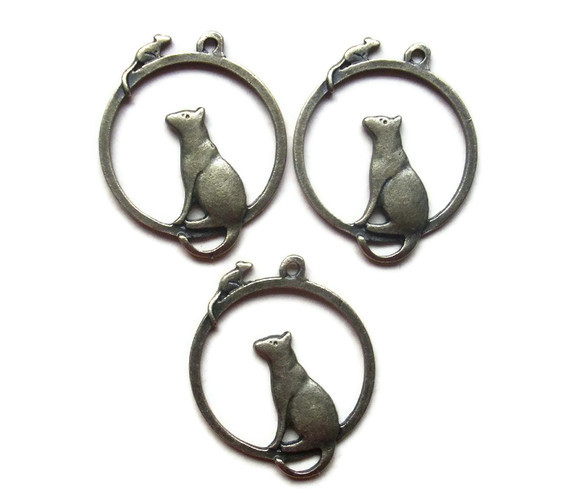 3 Cat and Mouse Antique Bronze Charms