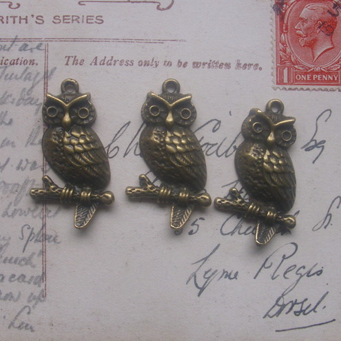 3 cute antique bronze owl charm pendants