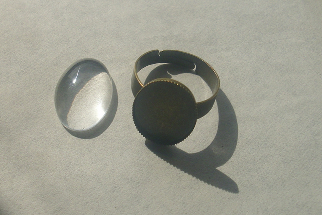 1 Antique Bronze Ring Blank Base and a 13mm x 18mm glass cabochon