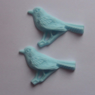 2 cute resin bird cabochons blue