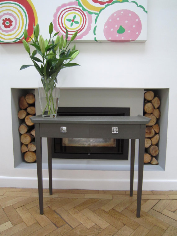 upcycled painted wood console table in charcoal folksy