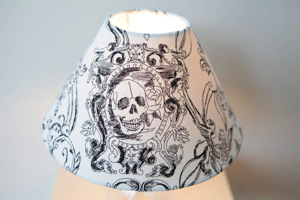 Skull Lamp Shade, Gothic Lamp Shade: REDUCED