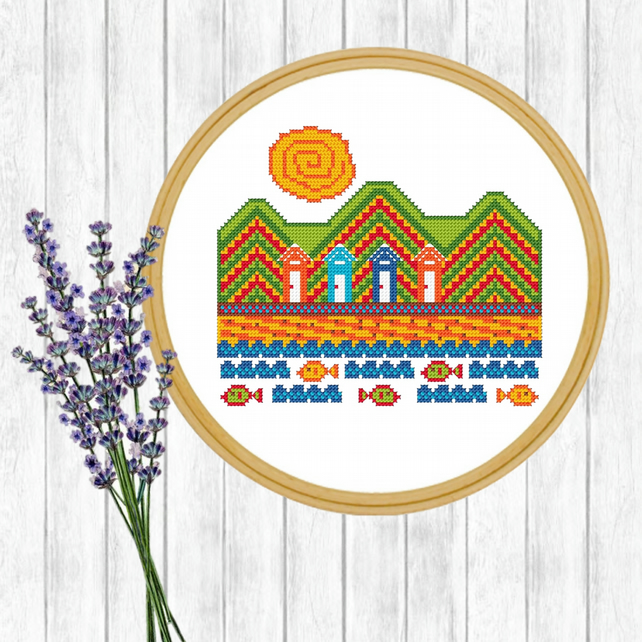 Beach Folk Art Cross Stitch Pattern - ZIP, PDF - E-Mail