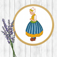 Dutch Girl Cross Stitch Pattern - ZIP, PDF - E-Mail