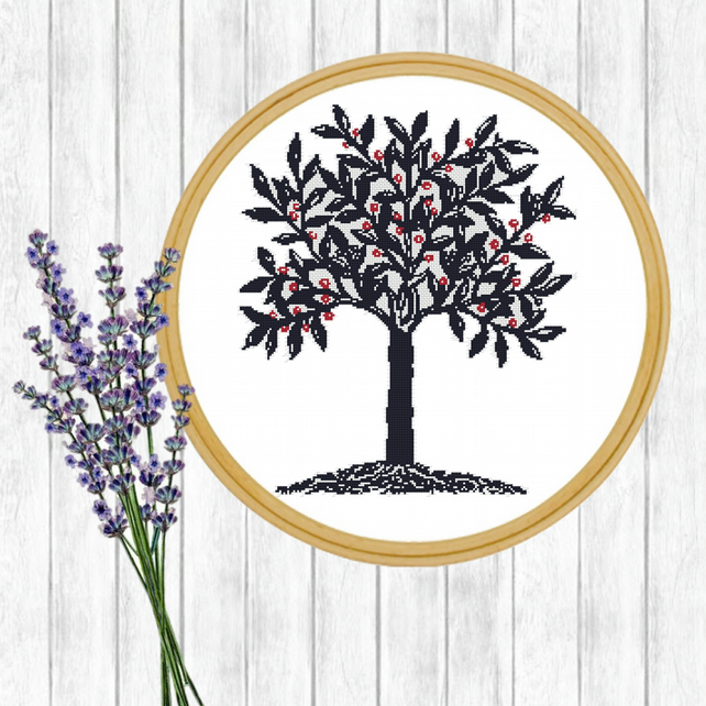 Blue Tree Cross Stitch Pattern - PDF - E-Mail